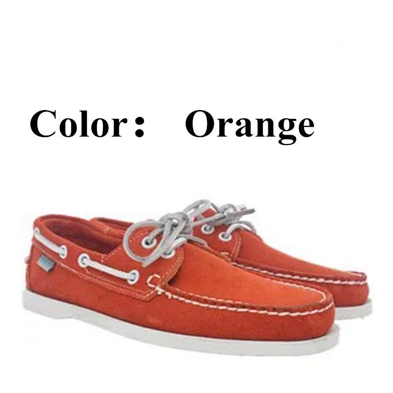 Homem genuíno couro nubuck docksides sapatos de barco casual, marca designer plana loafers para homme femme cor laranja x130