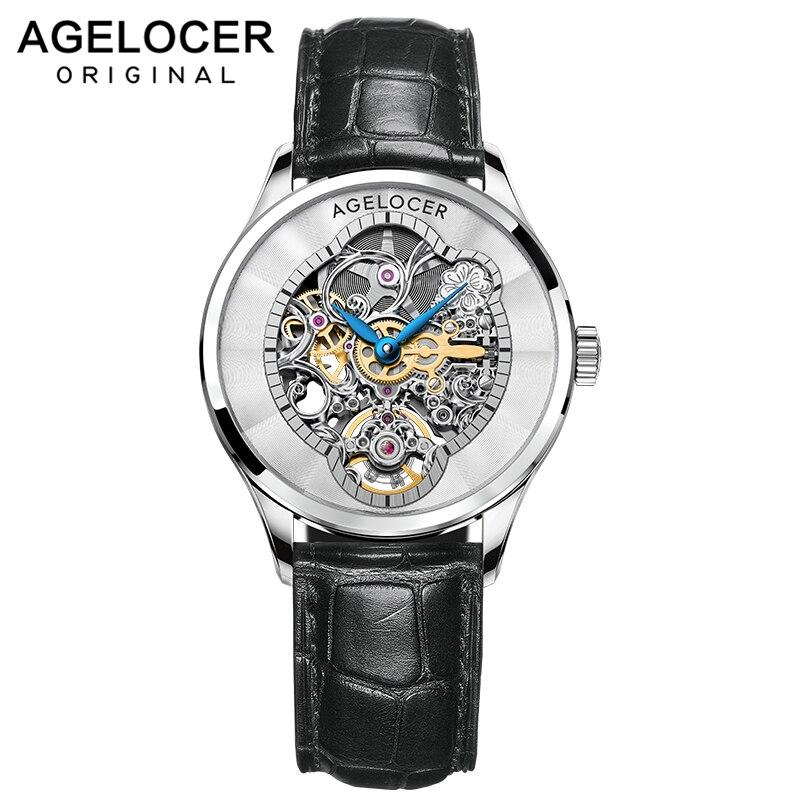 AGELOCER New Fashion Women Mechanical Watch Skeleton Design Top Brand Luxury Waterproof Female Automatic Clock Montre Femme 2021