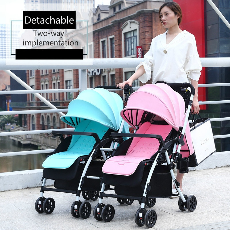 Cochecito doble plegable ligero, cochecito de bebé gemelo, amortiguador, cochecito de bebé alto paisaje puede sentarse, carro infantil reclinable