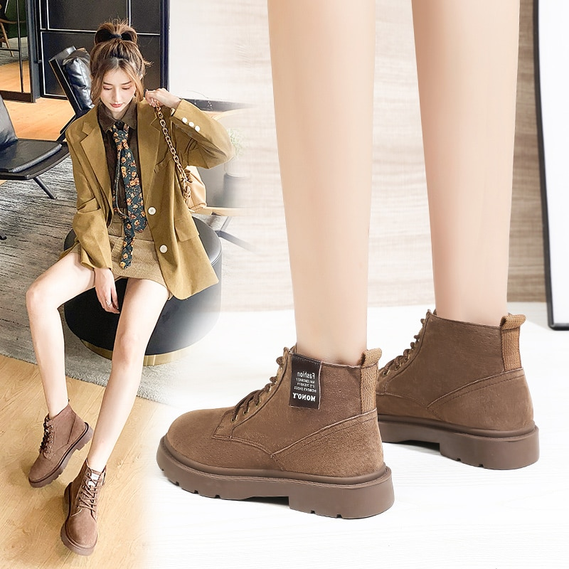 Black Women Boots Winter 2021 Fashion Outdoor Boots Casual Lace Up Shoes Comfortable Non Slip Ladies