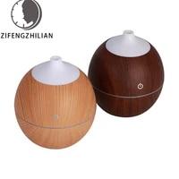 Diffuseur dhuile essentielle aromatique  humidificateur dair ultrasonique avec Grain de bois  lumieres LED aux 7 couleurs changeantes pour le bureau et la maison  130ml
