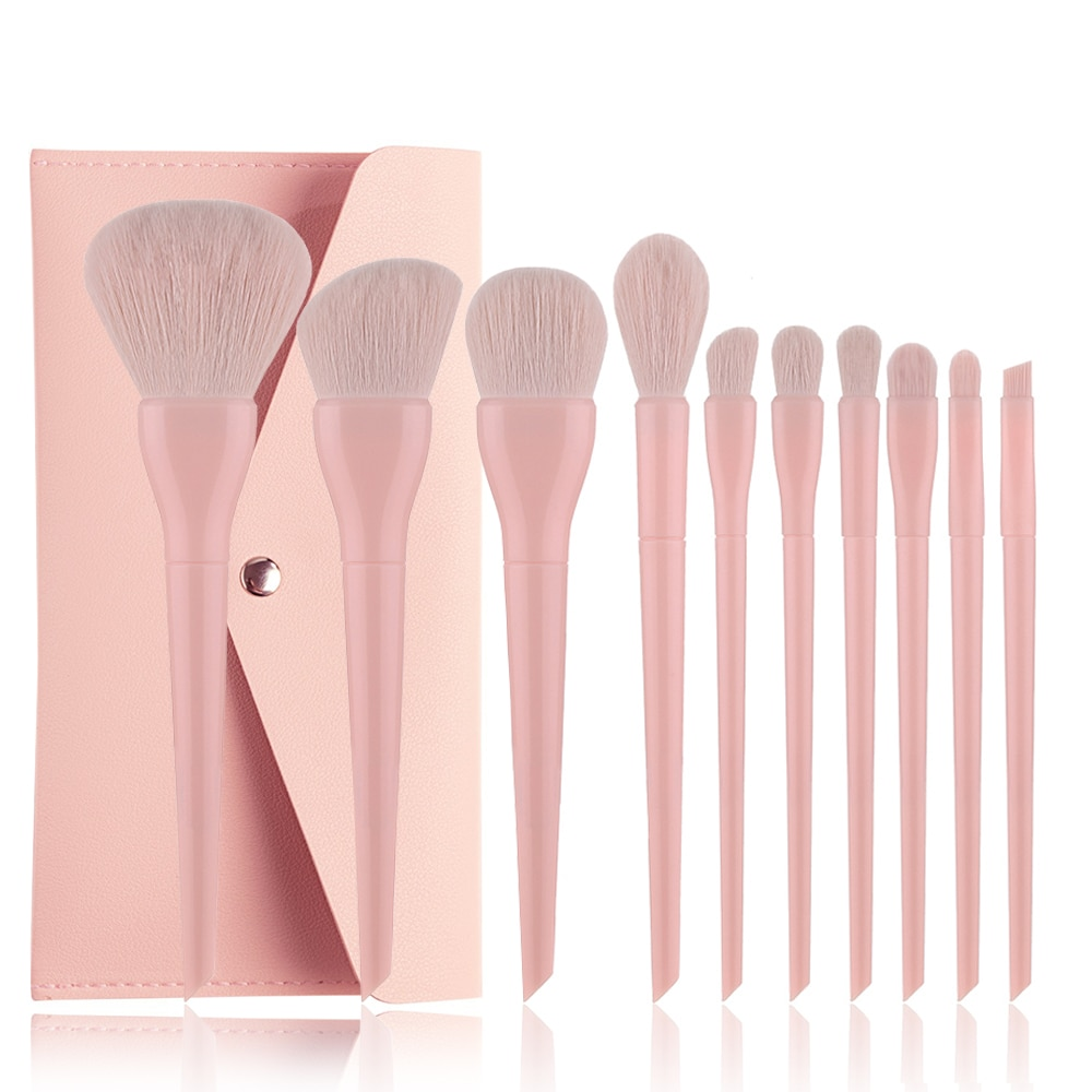 10pcs Makeup Brushes Natural Hair Candy Color Professional Foundation Powder Blush Eyeshadow Eyebrow Kabuki Blending Brush Set