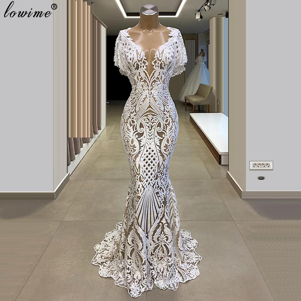 Plus Size Arabic White Evening Dresses Long Mermaid Prom Dresses Elegant Formal Dresses Woman Party Night Turkish Couture Custom