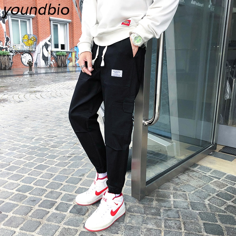 Мужские брюки мужские брюки-карго мужские джоггеры хип-хоп брюки повседневные штаны с карманами; Хлопковые спортивные штаны, мужские, модны...