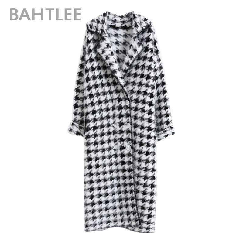 BAHTLEE Women Angora Long Coat Houndstooth Pattern Sweater Winter Wool Knitted Cardigans Jumper Turn Down Collar Long Sleeves enlarge