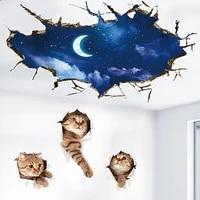 Autocollants muraux 3D nuit  lune  chats  a la mode  ciel  decoration de maison pour chambre denfants  Stickers muraux creatifs avec vue sur le trou  decoration de chambre a coucher