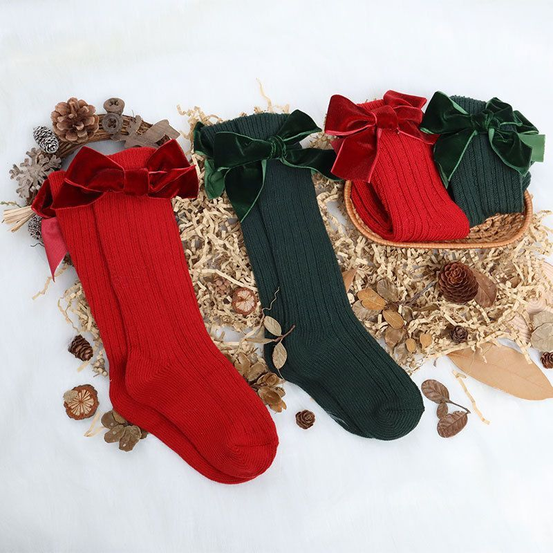 12pairs Infant Baby Girls Christmas Socks Newborn Toddler Knee High Socks Bow Knot Solid Cotton Autumn Winter Tights Leg Warmer