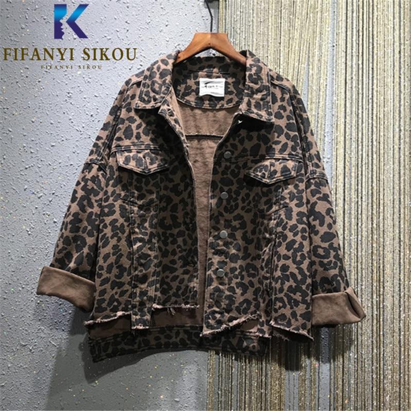 Куртка женская джинсовая с леопардовым принтом, модная уличная одежда из денима с карманами, свободная джинсы с отворотом в стиле Харадзюку...