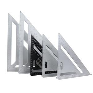 Линейка из алюминиевого сплава, треугольная, 90 градусов, 45 градусов, Метрическая пластина, прямоугольная, толстая угловая, деревянная