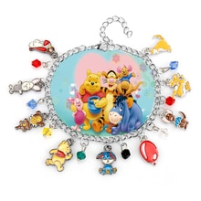 Cartoon Winnie The Poon Charm Bracelet Cute Poon Bear Friendship Theme Bangle&Bracelet Kawaii Toy Wristlet Women Girls Jewelry