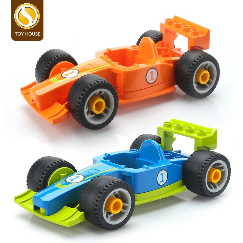 Bloques de edificio grande, figuras de carreras originales F1, coches deportivos, juguete ensamblado DIY para niños, regalo de cumpleaños, piezas compatibles con Duploes