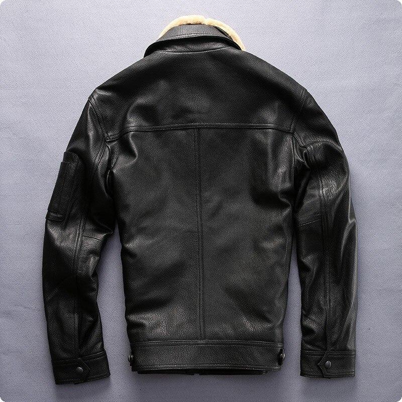معطف بسحاب عالي الجودة للرجال ، أزياء غير رسمية ، جلد الغنم ، سترة قصيرة ، طيار ، طوق فرو أسود ، مقاس 2XL