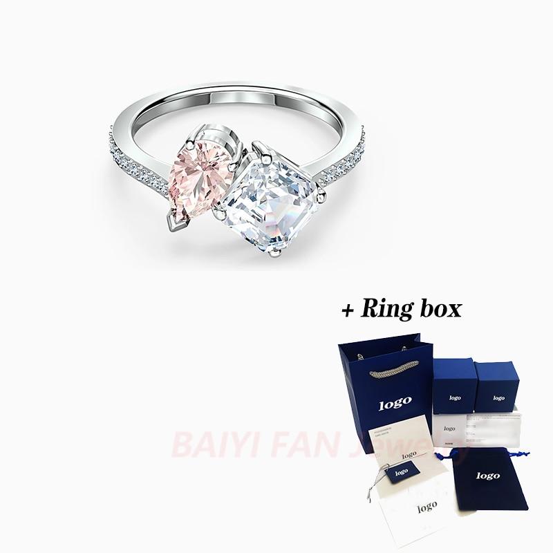 2020 mode SWA nouveau attirer lâme anneau rose goutte deau une décoration carrée cristal femme romantique généreux bague de fiançailles cadeau