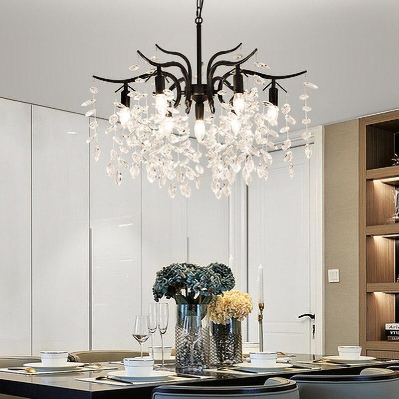 Скандинавская светодиодная хрустальная люстра, Роскошная лампа золотого и черного цвета для кухни, столовой, гостиной, спальни