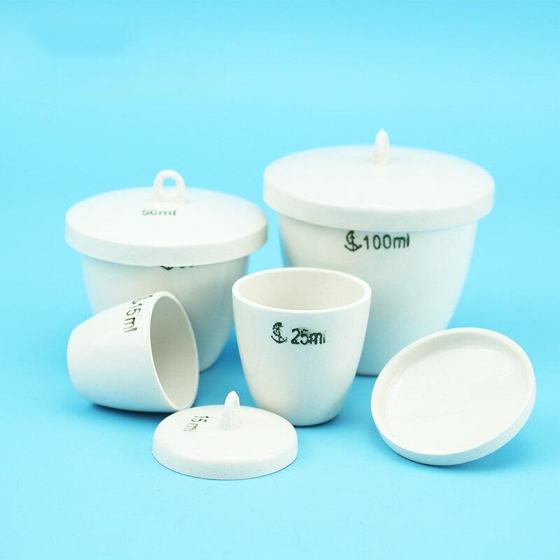 200mL 1 pieza de crisol de cerámica con tapa vajilla de porcelana de tierra equipo de química de laboratorio