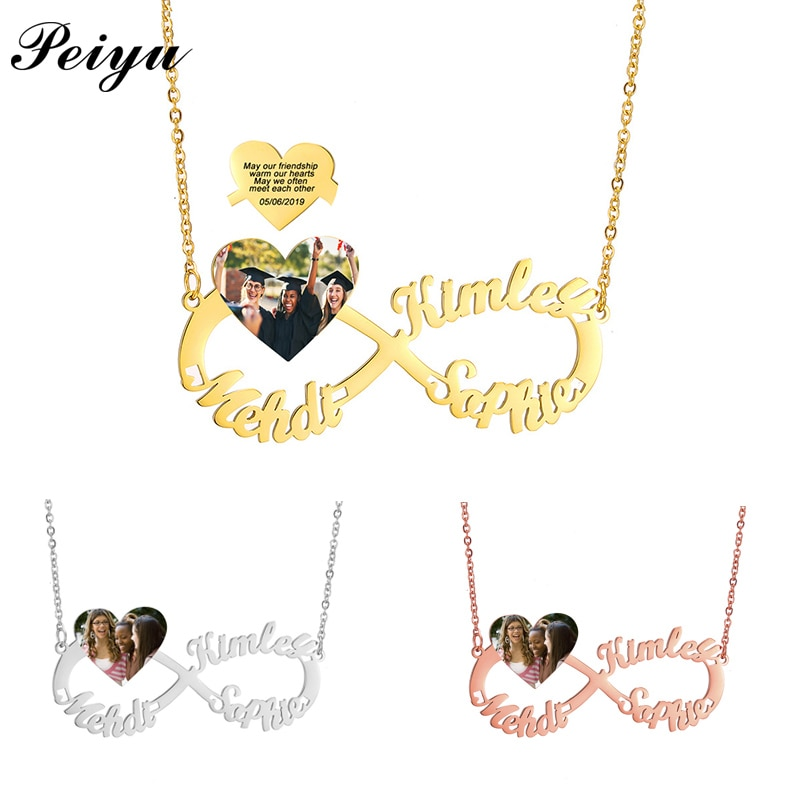 Custom Name Necklace Infinity Personalized Letter Heart Photo Text Necklace Stainless Steel Best Friends Graduation Gift Jewelry