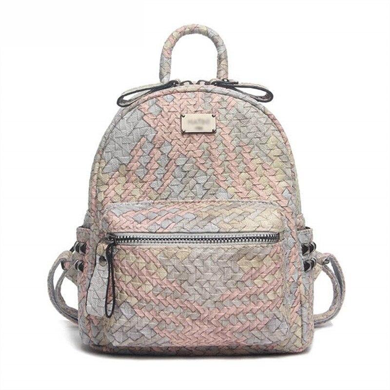 حقيبة ظهر نسائية باللون الوردي اللطيف موضة 2021 حقيبة سفر منسوجة جديدة ملونة حقائب ظهر صغيرة للنساء حقائب مدرسية للكلية