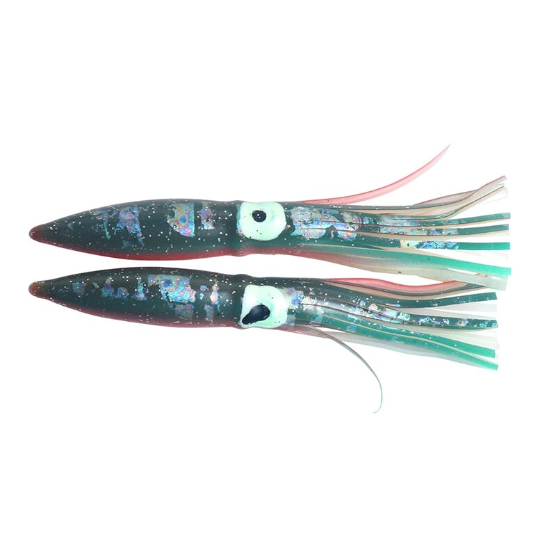 2 unids/lote 11cm PVC suave falda de calamar pulpo Señuelos de Pesca luminosos combo de cebos barco de mar