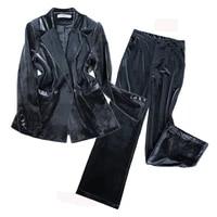 womens suit 2 piece jacket pants star with the same paragraph velvet womens suit blazers trousers professional set