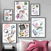 modern illustration painting still life coffee cup fashion clothing book nordic poster canvas print girl wall art home decor