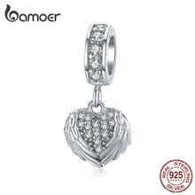 Bamoer argent 925 bijoux éblouissant CZ coeur avec ailes pendentif breloque pour Bracelet Bracelet gardien accessoires de mode BSC138