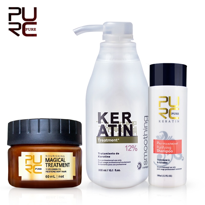 PURC Brazilian keratin 12% formalin 300ml keratin treatment set & magical hair mask repair damage ha