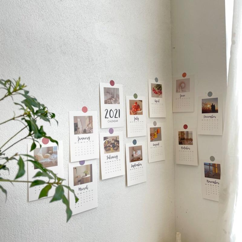 2021 Новогодняя Простая Современная Карта календаря, 13 листов, красивые Ретро фотографии ностальгии, декоративные открытки, настенные наклей...