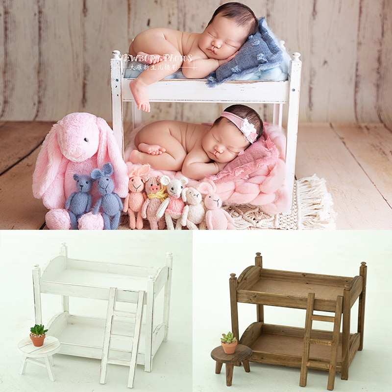 New Retro Baby Bed 100-Days Solid Do Old Wood Antique Twins Newborn Photography Props Crib Props For Photo Shoot Posing Sofa