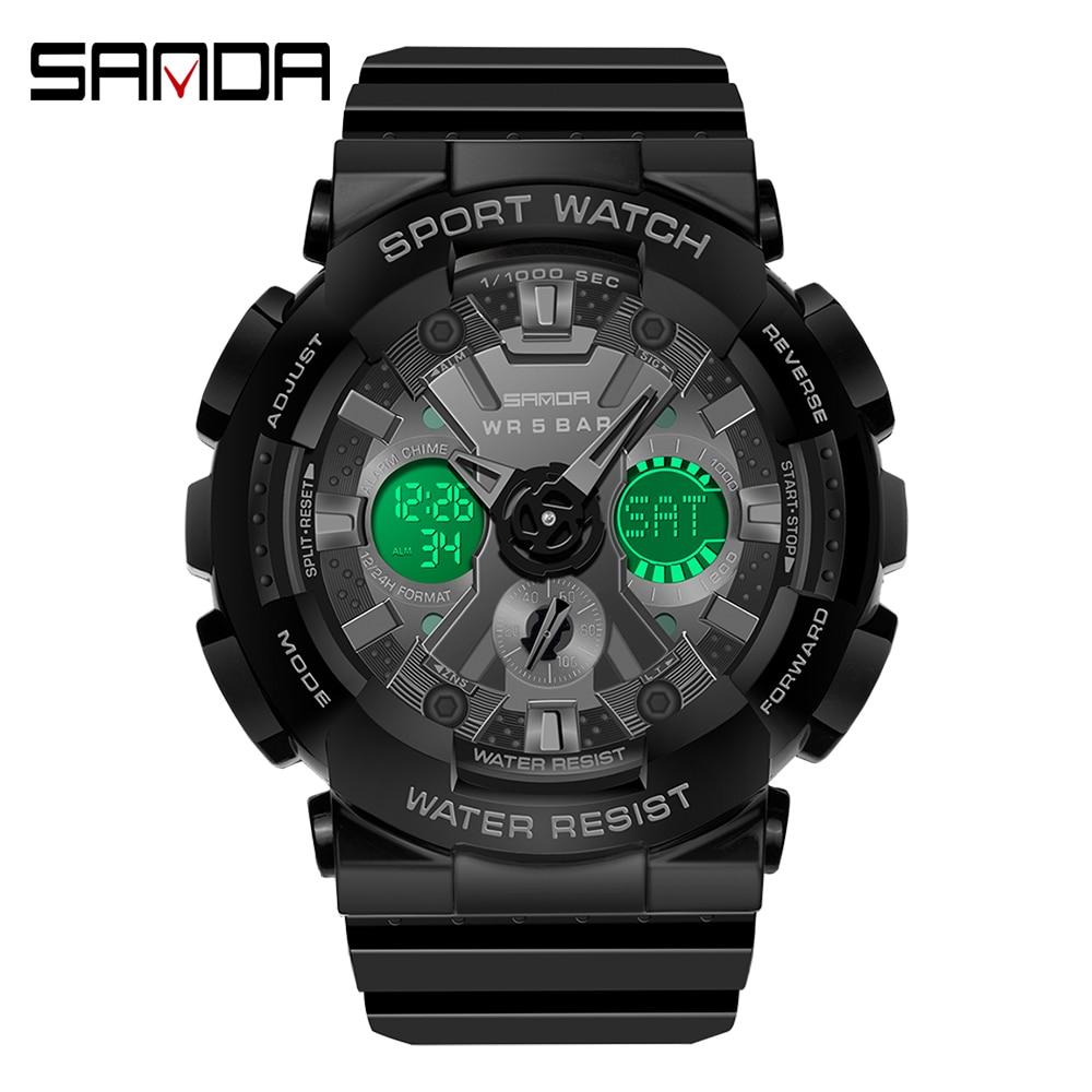 Sanda Men's Quartz Watches 2021Military Fashion Waterproof Analog Clock Ms LED Sports Alarm Wristwatch relojes digitales hombre