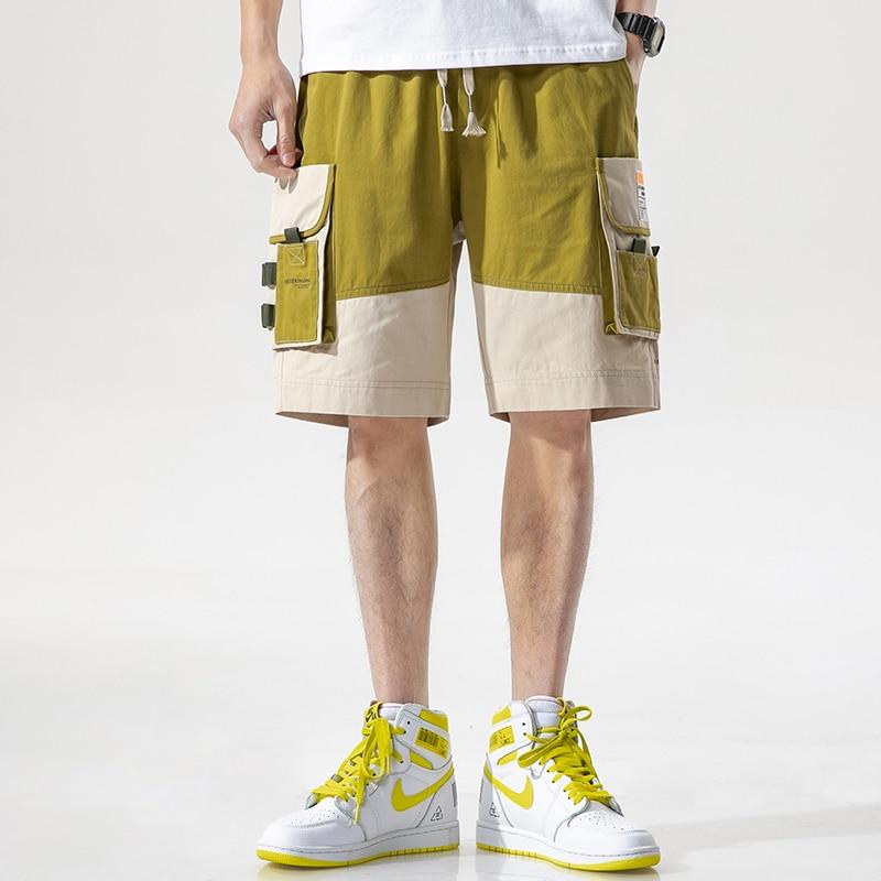 Men 2021 New Summer Cotton Fashion Patchwork Casual Shorts Men Mid Knee Length Multi Pocket  Loose Fit Shorts Men  Plus Size 4XL