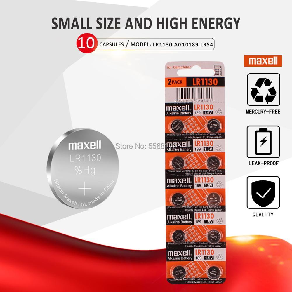 10 шт./лот для Maxell 1,5 V AG10 LR1130 батареи для монет LR 1130 щелочные AG10 389 LR54 SR54 SR1130W 189 LR1130 кнопка