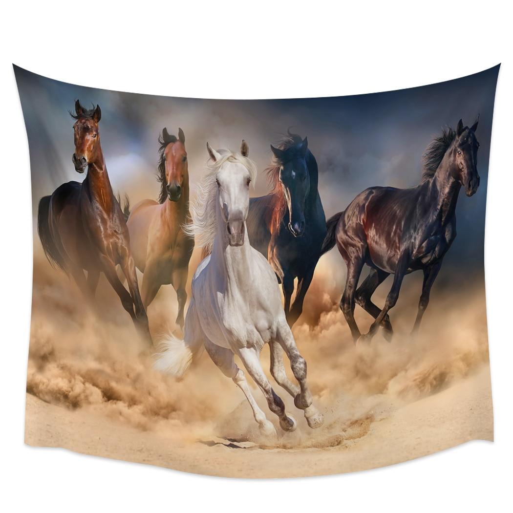 Corriendo cartel de caballo tapices decoración de la pared Coverlet tapices pared arte ropa de cama manta hoja bufanda personalizada decorativa