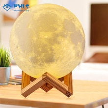 2 Colors 3D Print LED Night Light Rechargeable Moon Lamp Bedroom Decoration Touch Control Creative T