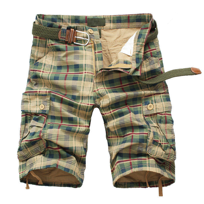 Летние мужские шорты 2021, модные пляжные шорты в клетку, мужские повседневные шорты, мужские шорты-бермуды, комбинезоны-Карго