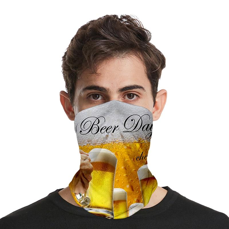New Fashion Print Beer Day Cool 3D Seamless Face Mask Motorbike Headwear Magic Scarf Outdoor Cycling Fishing Ski Hiking Bandanas