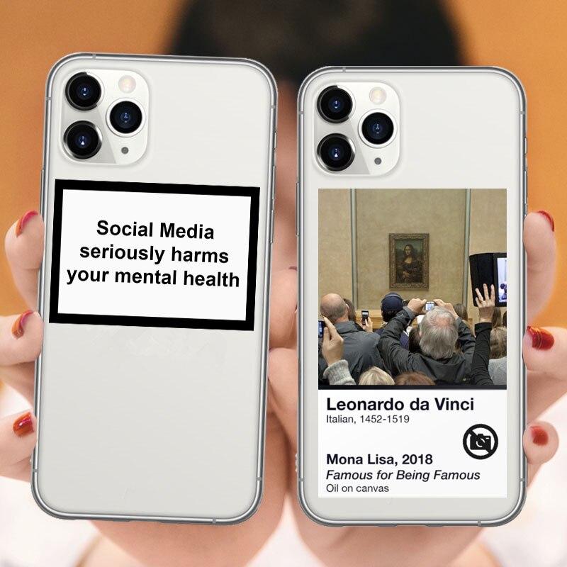 A mídia social de design de luxo prejudica seriamente seu caso de saúde mental para iphones 11 xs pro max xr 6 s 7 8 plus capa clara de moda