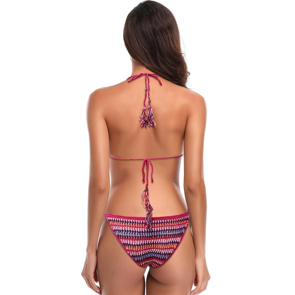 Sexy Rainbow Tiangle bikini swimsuit thong Hanging Neck Bikini Swimsuit Thong Three-Point Brazilian Swimwear Beachwear