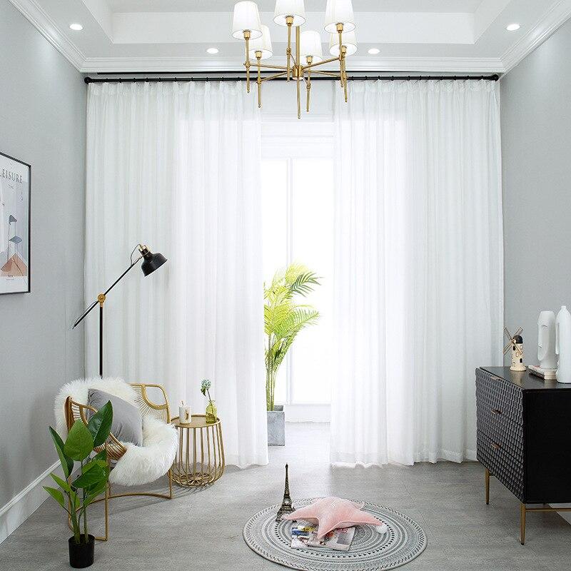 نوعية جيدة مكافحة بيلينغ البوليستر هوك أعلى الستائر شير أنيقة لغرفة المعيشة الأبيض