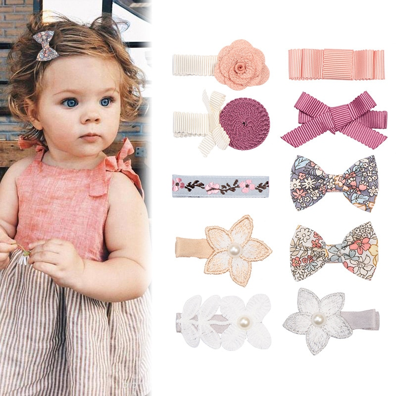 10PCS/Set Baby Ribbon Pearl Bow Hair Clips Embroidery Floral Hairpins Barrettes Colorful Infant Clip Pins for Girls