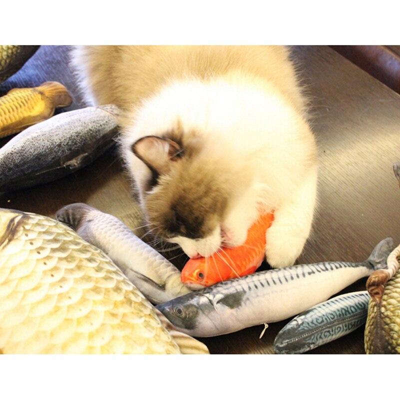 Divertido y nuevo juguete de almohada para gatos con peces artificiales, cómodo y suave carpa herbívora dorada Arowana roja Arowana plateada