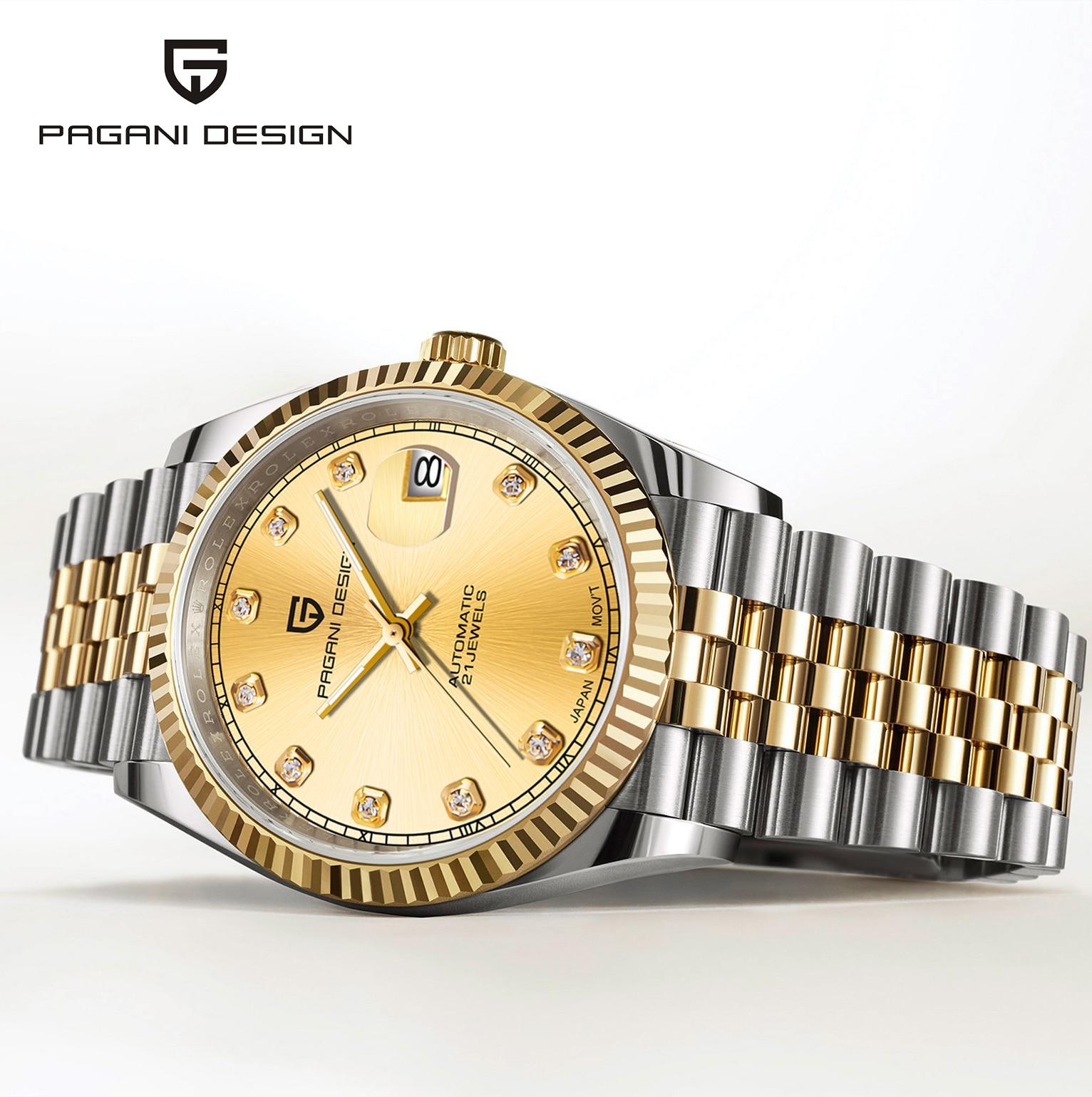 2021 جديد PAGANI تصميم العلامة التجارية العليا الرجال ساعة ميكانيكية الياقوت ساعة أوتوماتيكية الرياضة مقاوم للماء الرجال ساعة Relogio Masculino