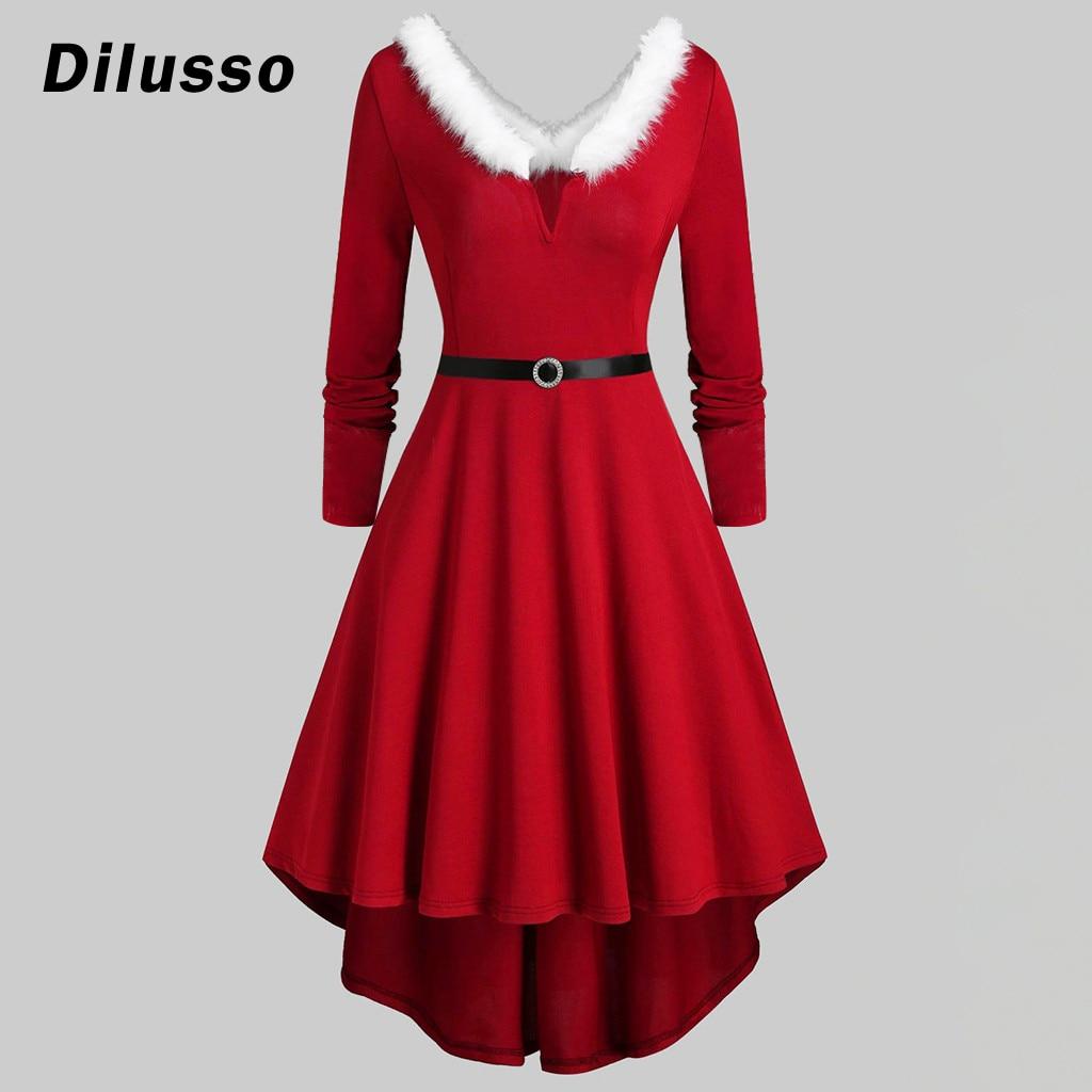 Balanço Vestido de natal Traje Adulto Fantasia Vestido de Natal Roupas de Natal Vermelho Vestidos de Festa de Noite Das Mulheres Vestidos de Roupas de Inverno # D3