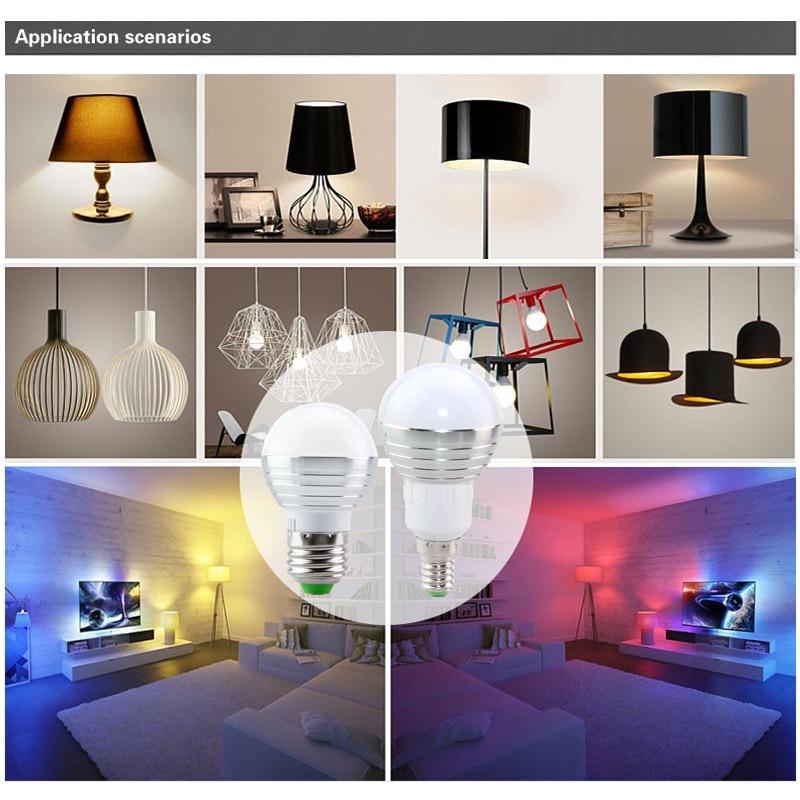 1 piece E27 E14 LED light RGB bulb spotlight dimmable plus infrared remote control
