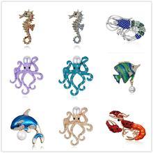 Emaille Cute Blue Dolphin Broschen für Frauen Strass Hummer Delphin Fisch Seepferdchen Octopus Brosche Pins Modeschmuck