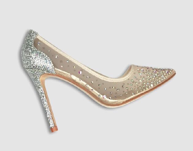 فولي ستراس منمق شبكة مضخات الكريستال منمق النساء مضخات مثير أشار تو الراين حفل زفاف النساء الأحذية
