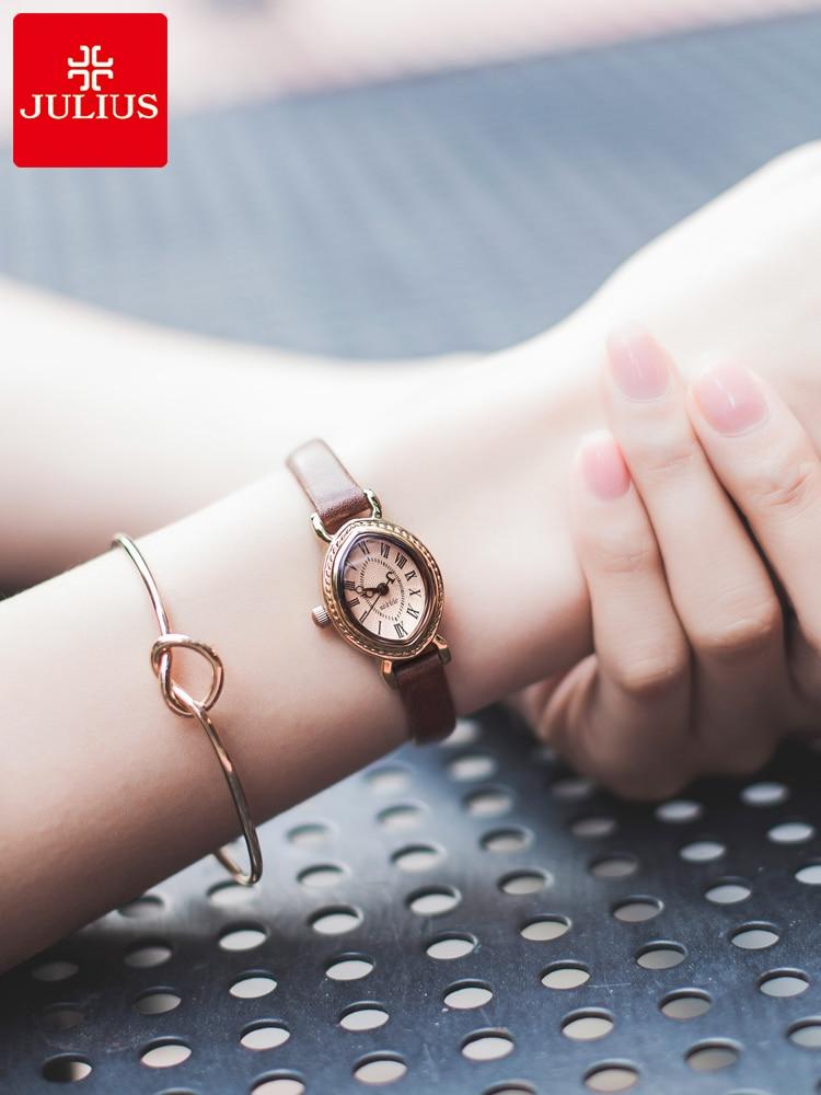 ساعة كوارتز يابانية للسيدات من JULIUS ، سوار جلدي عصري للغاية ، ساعة بيضاوية ريترو ، هدية للبنات ، بدون صندوق