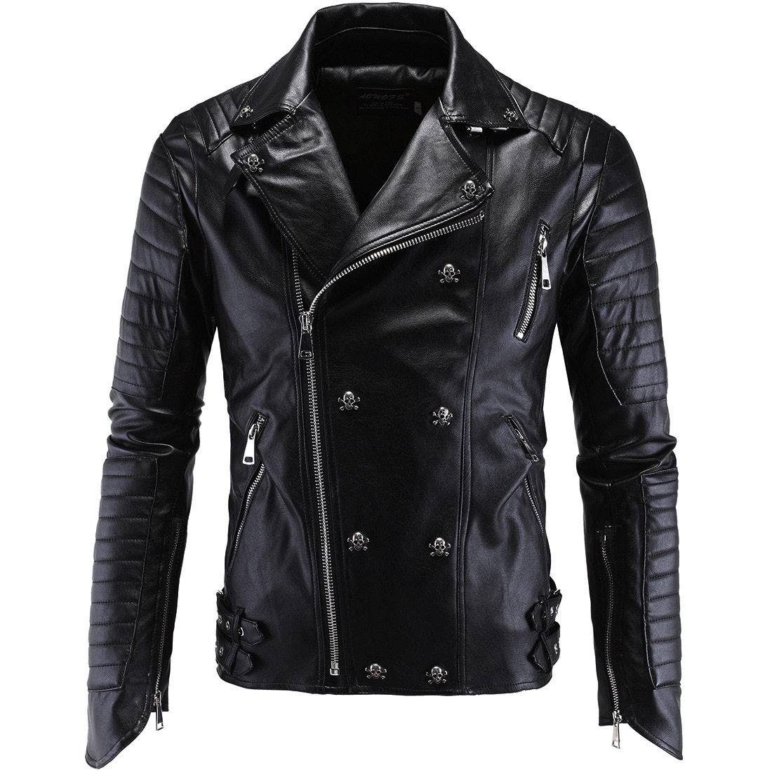 Punk Men's Motorcycle Slim Leather Jacket Men Leather Jackets and Coats Faux Leather Men Clothes 2020 PU Biker Men Fur Coat