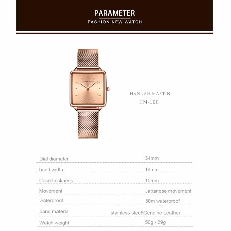 Hannah Martin 2020 New Ladies Watch Luxury Brand Quartz Wristwatch Women Watches Gifts for Women Steel Strap Clock Reloj Mujer enlarge
