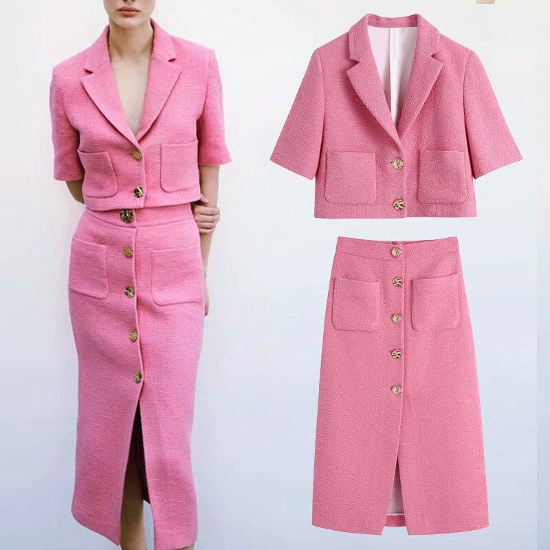 2 Pieces Women ZA  Blazer+Skirt Set Vintage Stylish Notched Jacket Coats+Skirt Single Breasted Outerwear