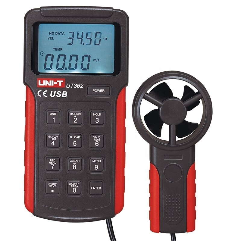 UT362 مقياس شدة الريح قياس سرعة الرياح والتحكم أداة دخول CMM CFM